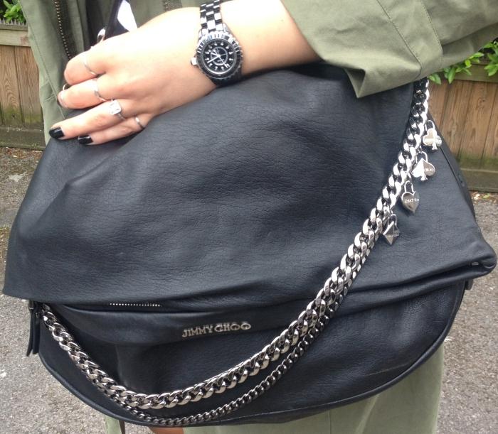 jimmy choo bag biker chains black leather cool chanel watch shoulder handbag